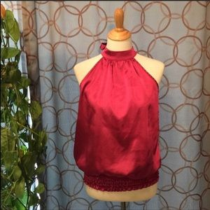 Studio Y Pink Metallic Tie Halter Top Size Large